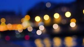Τα φω'τα, bokeh, στο Παρίσι απόθεμα βίντεο