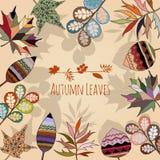 Τα φύλλα φθινοπώρου δίνουν τις συρμένες εποχές φύσης υποβάθρου Ελεύθερη απεικόνιση δικαιώματος