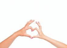 τα χέρια ανασκόπησης αγαπούν το λευκό Στοκ Φωτογραφία