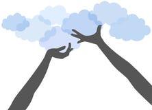 Τα χέρια ανθρώπων κρατούν ψηλά τον υπολογισμό σύννεφων διανυσματική απεικόνιση