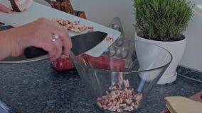 Τα χέρια γυναικών βάζουν το τεμαχισμένο ζαμπόν σε ένα κύπελλο απόθεμα βίντεο
