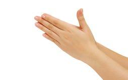 Τα χέρια γυναικών κρατούν τα χέρια από κοινού Στοκ Φωτογραφία