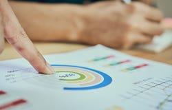 Τα χέρια δύο επιχειρηματιών Σημείο στο οικονομικό φύλλο Η βοήθεια αποφασίζει ποιες πληροφορίες για να προσφέρει στους πελάτες Στοκ Εικόνα
