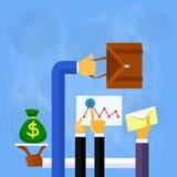 Τα χέρια επιχειρηματιών χρηματοδοτούν το επίπεδο διάνυσμα απεικόνιση αποθεμάτων