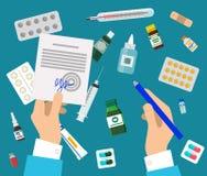 Τα χέρια και τα φάρμακα γιατρών s καθορισμένα τη ζωηρόχρωμη αφίσα Διανυσματική απεικόνιση