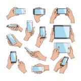 Τα χέρια με τη διανυσματική εκμετάλλευση χεριών συσκευών τηλεφωνούν ή ταμπλέτα και χαρακτήρας που λειτουργούν στο σύνολο απεικόνι απεικόνιση αποθεμάτων