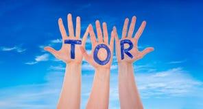 Τα χέρια με τη σκαπάνη σημαίνουν το στόχο, μπλε ουρανός Στοκ Φωτογραφία