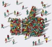 Τα χέρια φυλλομετρούν επάνω τους μεγάλους ανθρώπους ομάδας συμβόλων ελεύθερη απεικόνιση δικαιώματος
