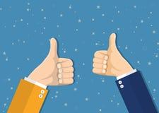 Τα χέρια Businessmans κρατούν τους αντίχειρες επάνω ελεύθερη απεικόνιση δικαιώματος