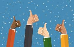 Τα χέρια Businessmans κρατούν τους αντίχειρες επάνω απεικόνιση αποθεμάτων