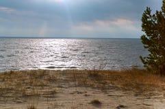 Τα χαμηλά κύματα τρέχουν στην παραλία, κύματα θάλασσας στην παραλία, μια θύελλα στη θάλασσα της Βαλτικής, Στοκ εικόνες με δικαίωμα ελεύθερης χρήσης