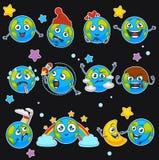 Τα χαμόγελα γήινου emoji των κινούμενων σχεδίων πλανητών emoticons με το διαφορετικό διάνυσμα εκφράσεων τα εικονίδια καθορισμένα Διανυσματική απεικόνιση