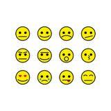 Τα χαμόγελα καθορισμένα τα διανυσματικά εικονίδια κίτρινα Στοκ Εικόνες
