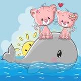 Τα χαριτωμένα γατάκια κινούμενων σχεδίων κάθονται στη φάλαινα ελεύθερη απεικόνιση δικαιώματος