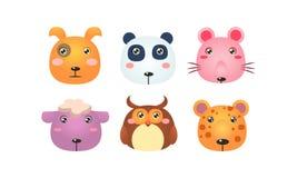 Τα χαριτωμένα ζωικά κεφάλια καθορισμένα, τα αστεία πρόσωπα του σκυλιού, panda αντέχουν, ποντίκι, πρόβατα, κουκουβάγια, διανυσματι απεικόνιση αποθεμάτων