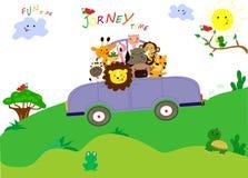 Τα χαριτωμένα ζώα έχουν ένα συμπαθητικό ταξίδι με το αυτοκίνητο Χρόνος διασκέδασης από κοινού απεικόνιση αποθεμάτων