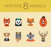 Τα χαριτωμένα ζώα Hipster μόδας θέτουν 1 των διανυσματικών εικονιδίων Στοκ Φωτογραφίες