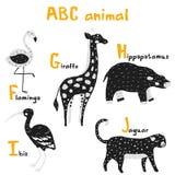 Τα χαριτωμένα ζώα Scandi θέτουν abc το αλφάβητο, που τίθεται για τα στοιχεία παιδιών abc στο Σκανδιναβικό ύφος διανυσματική απεικόνιση