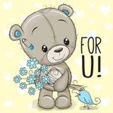 Τα χαριτωμένα κινούμενα σχέδια Teddy αντέχουν με ένα λουλούδι διανυσματική απεικόνιση