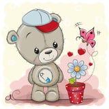 Τα χαριτωμένα κινούμενα σχέδια Teddy αντέχουν με το λουλούδι διανυσματική απεικόνιση