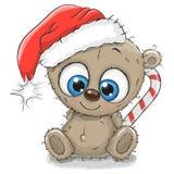 Τα χαριτωμένα κινούμενα σχέδια Teddy αντέχουν σε ένα καπέλο Santa διανυσματική απεικόνιση