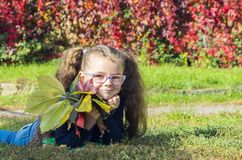 Τα χαριτωμένα κορίτσια βρίσκονται στη χλόη με τα φύλλα φθινοπώρου στα χέρια Στοκ Εικόνες