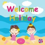 Τα χαριτωμένα κορίτσια είναι ευτυχή στα κινούμενα σχέδια διακοπών, τη θερινή κάρτα, την ταπετσαρία, και τη ευχετήρια κάρτα διανυσματική απεικόνιση