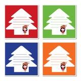 Τα χαριτωμένα κορίτσια στο πλαίσιο χριστουγεννιάτικων δέντρων με τη ζωηρόχρωμη απεικόνιση κινούμενων σχεδίων υποβάθρου για το έγγ Στοκ φωτογραφίες με δικαίωμα ελεύθερης χρήσης