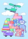 Τα χαριτωμένα παιχνίδια παιδιών ψωνίζουν κάθετο έμβλημα με το σύνολο διαφορετικών παιχνιδιών για τα αγόρια και τα κορίτσια που απ διανυσματική απεικόνιση