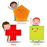 Τα χαριτωμένα παιδιά λίγων κινούμενων σχεδίων με τις βασικές μορφές τακτοποιούν το διαγώνιο Πεντάγωνο Στοκ εικόνα με δικαίωμα ελεύθερης χρήσης