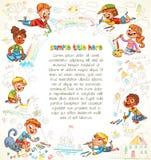 Τα χαριτωμένα παιδιά χρωματίζουν την εικόνα από κοινού ελεύθερη απεικόνιση δικαιώματος