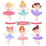 Τα χαριτωμένα ballerinas σε διάφορο θέτουν Στοκ εικόνες με δικαίωμα ελεύθερης χρήσης