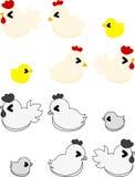 Τα χαριτωμένοι εσωτερικοί πτηνά και ο νεοσσός διανυσματική απεικόνιση
