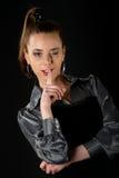τα χείλια ένα κοριτσιών δάχτυλων αρκετά βάζουν το s Στοκ εικόνα με δικαίωμα ελεύθερης χρήσης