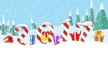 Τα χειμερινά εμβλήματα Χριστουγέννων με παρουσιάζουν Στοκ Φωτογραφία