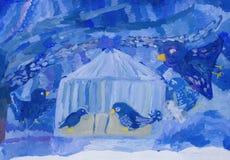 Τα χειμερινά πουλιά πέταξαν για να φάνε στοκ φωτογραφία