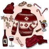 Τα χειμερινά Χριστούγεννα doodles έθεσαν Χαριτωμένες αυτοκόλλητες ετικέττες hygge Συλλογή των άνετων χειμερινών στοιχείων Πουλόβε ελεύθερη απεικόνιση δικαιώματος