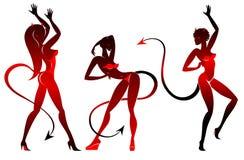 τα χορεύοντας κορίτσια διαβόλων θέτουν τις σκιαγραφίες Στοκ Εικόνες
