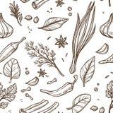 Τα χορτάρια και τα καρυκεύματα σκιαγραφούν το άνευ ραφής καρύκευμα μαγειρέματος σχεδίων απεικόνιση αποθεμάτων