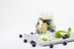 Τα χορτάρια και τα φρούτα αρωμάτισαν το εμποτισμένο νερό με τις φράουλες και τη μέντα Θερινό αναζωογονώντας ποτό Υγειονομική περί Στοκ Εικόνα