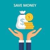 τα χρήματα έννοιας σώζουν Διανυσματική απεικόνιση σε ένα επίπεδο ύφος Στοκ Εικόνα
