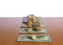 τα χρήματα ανασκόπησης περισσότερο το χαρτοφυλάκιό μου βλέπουν το λευκό Στοκ Εικόνες