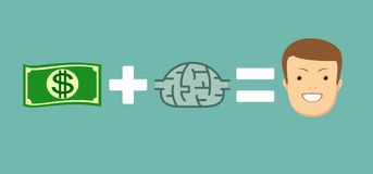 Τα χρήματα και οι εγκέφαλοι σας κάνουν ευτυχησμένους Στοκ εικόνες με δικαίωμα ελεύθερης χρήσης