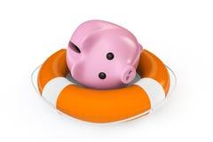 Τα χρήματα σώζουν την έννοια. Τράπεζα Piggy με το lifebuoy Στοκ εικόνα με δικαίωμα ελεύθερης χρήσης