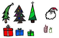 Τα χριστουγεννιάτικα δέντρα και παρουσιάζουν Στοκ Εικόνα