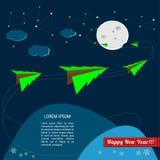 Τα χριστουγεννιάτικα δέντρα πετούν στο διάστημα γύρω από το φεγγάρι Στοκ Εικόνα