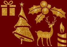Τα Χριστούγεννα ακτινοβολούν στοιχεία στο κόκκινο υπόβαθρο στοκ εικόνα με δικαίωμα ελεύθερης χρήσης