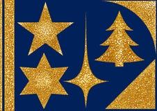 Τα Χριστούγεννα ακτινοβολούν στοιχεία στο μπλε υπόβαθρο στοκ εικόνα με δικαίωμα ελεύθερης χρήσης