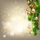 Τα Χριστούγεννα λαμπρά με διακοσμούν το υπόβαθρο και το διάστημα για το κείμενό σας Στοκ Εικόνα