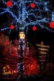 Τα Χριστούγεννα ανάβουν όλοι γύρω από τη γέφυρα, τα δέντρα, τα σημάδια, τα σπίτια θέσεων και τα φω'τα τη νύχτα Στοκ Εικόνες